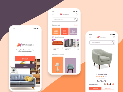 Maynooth - Furniture Store Mobile App furniture ui mobile app concept