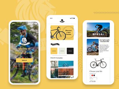Roar Bikes - Mobile App bike ride bikes mobile app concept