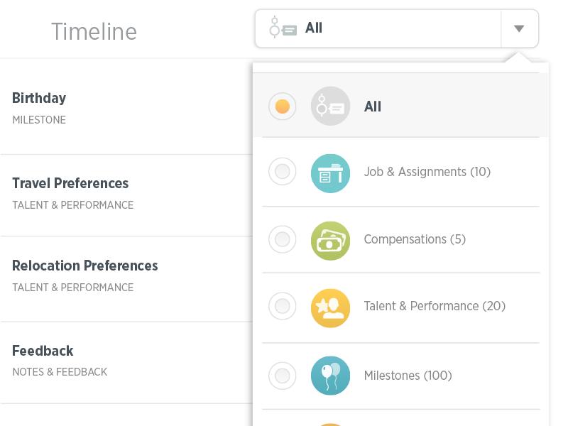 Detail of Timeline Dropdown Menu user experience visual design ux ui mobile design product design ipad