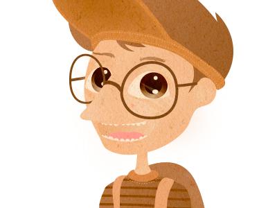 Boy childrensbook illustration vector figure character nerd kid boy