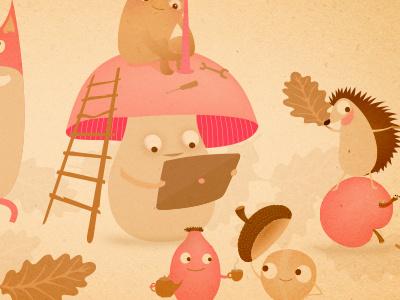 """Ukapupika illustration """"Autumn"""" character. mushroom animals autumn illustration ukapupika"""