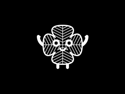 Four-leaf clover pictogram mark logo blackandwhite monochrom outline character clover four-leaf icon pictogram