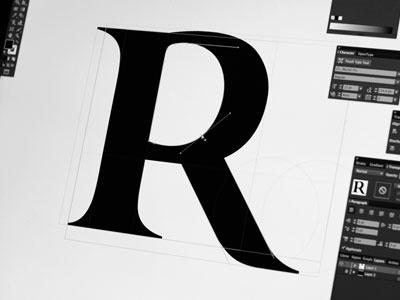 Typo R curve vector serif font typography typo r litera letter