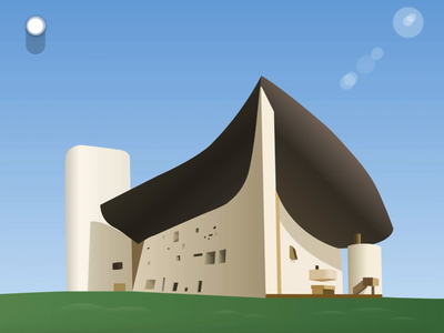 Colline Notre Dame du Haut midcenturymodern building le corbusier modern architecture modern architecture sunny shadow gradual change sunset digital art graphic art adobe illustrator adobexd illustrator graphicdesign graphic design vector illustration