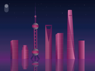 Daily UI 015 - City Shanghai Day/Night Switch scenery shanghai water starts night scene night light gradual change color city architechture onoff switch switch dailyui015 animation dailyuichallange ux ui illustration dailyui