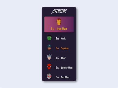 Daily UI 019 - Leaderboard endgame ant-man spider man thor hulk tony stark iron man ironman avengersendgame avengers marvel ranking leaderboard dailyui019 animation dailyuichallange ui ux illustration dailyui
