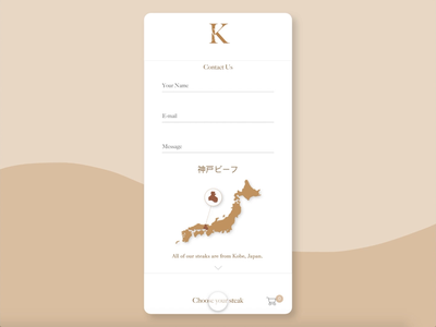 Daily UI 028 - Steakhouse Contact Us contact form contact us restaurant steakhouse mobile ui japan food app food dailyui 028 clean branding beef mobile animation dailyuichallange app illustration ux ui dailyui