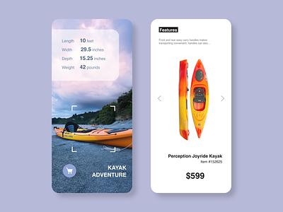 Daily UI 030 - Pricing sea e-comerce online store online shopping shop pricing price selling sell kayaking kayak dailyui 030 white mobile vector dailyuichallange app ux ui dailyui