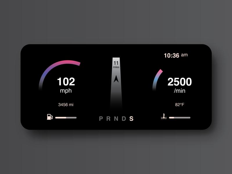 Daily UI 034 - Car Interface navigation speed chart car dashboard minimal car app automobile auto adobe illustrator interface car interface car ui car dailyuichallenge dailyui 034 gradual change vector ux ui dailyui