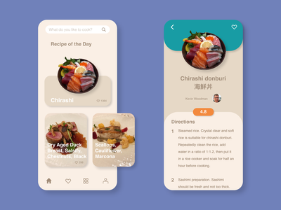 Daily UI 040 - Recipe food app food mobile app dish cooking app chef cookbook cook recipe book recipe app recipes recipe dailyui 040 flat mobile vector app dailyuichallange ui dailyui