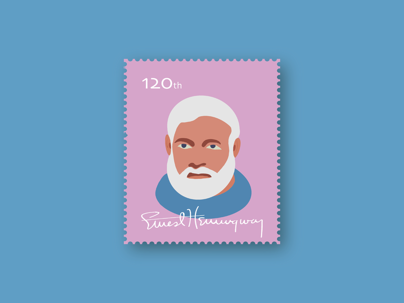 Ernest Hemingway beards draw author key west birthday anniversary old cuba sea oldman mail stamps stamp digitalart blue vector illustration ernest hemingway old man