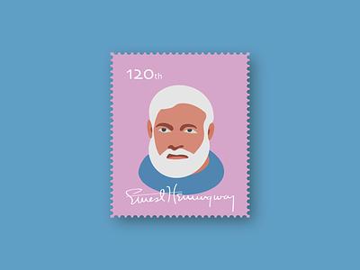 Ernest Hemingway beards draw author key west birthday anniversary old cuba sea oldman mail stamps stamp digitalart blue vector illustration ernest hemingway old man