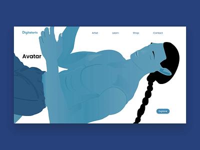 Avatar character body clear minimalism digitalart web design pandora avatar illustrator webdesign website web blue flat animation branding design vector ui illustration