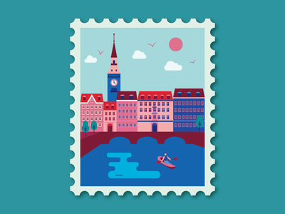 Copenhagen oldtown building kayak travel europe town stamp landscape lake flat cozy alps denmark copenhagen sunny cityscape city design vector illustration