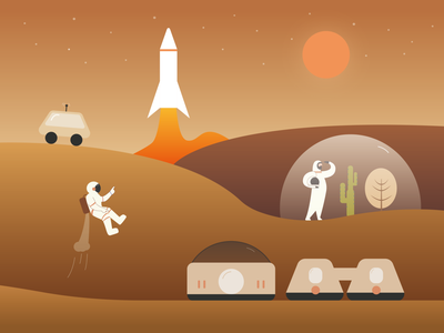 Mars star cactus astronaut robot colony glass color station planet illustrator flatdesign galaxy flat spaceman mars rocket gradual change design vector illustration