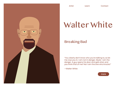 Walter White minimal illustrator tv series 2d art 2d heisenberg character breakingbad walterwhite movie tv show webdesign web website flat branding design vector ui illustration