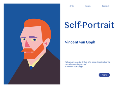 Vincent Van Gogh self-portrait van gogh vincent van gogh vincent painter impressionism geometry web website drawing digital illustration digital art digitalart digital artwork flat design vector illustration adobe illustrator