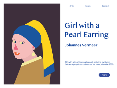 Girl With a Pearl Earring website web painting pearl earring earring girlwithapearlearring digitalart geometric art digital illustration illustrator adobe illustrator artwork geometry flat design ux vector ui illustration