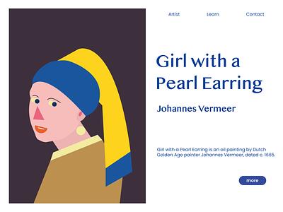 Girl With a Pearl Earring website web painting pearl earring earring girlwithapearlearring digitalart geometric art digital illustration illustrator adobe illustrator artwork geometry flat design ux vector ui illustration