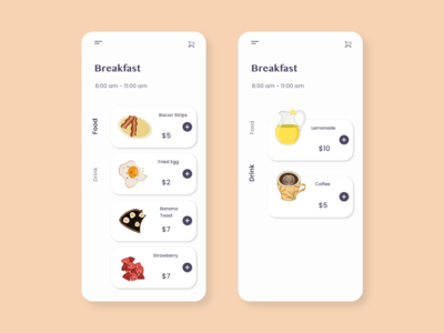Daily UI 043 - Food/Drink Menu drink menu drink food app food order breakfast illutration illustrator menu design menu mobile flat app design dailyuichallange ux dailyui vector ui illustration