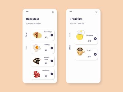 Daily UI 043 - Food/Drink Menu drink menu drink food app food order breakfast illutration illustrator menu design menu mobile flat app design dailyuichallange ux dailyui vector ui illustration