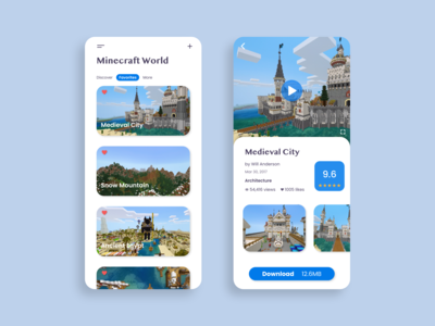 Daily UI 044 - Favorites download blue minecraft app design product page list favorites favorite dailyui044 daily 100 challenge digitalart branding mobile flat app design dailyuichallange ux dailyui ui