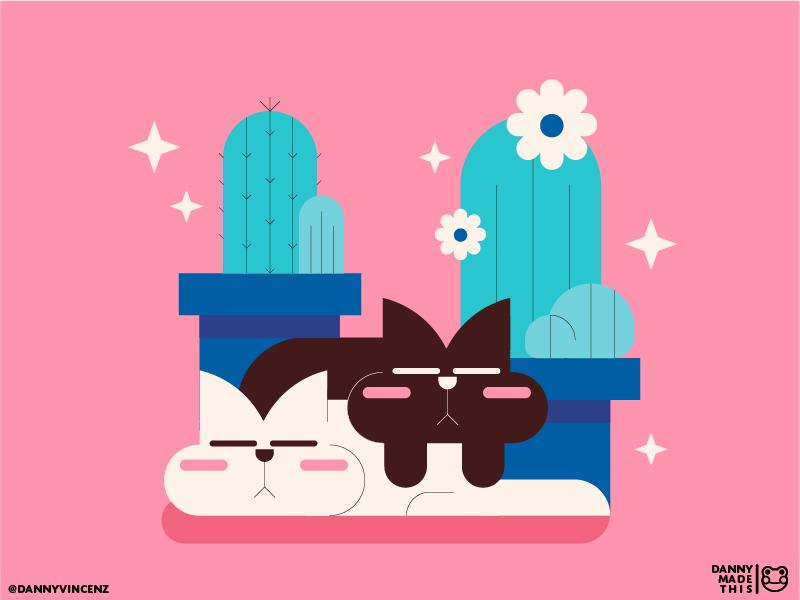 Sleepy Cats, Sleepy Plants illustrator illustration cat kitty kittens succulent cactus plants sleepy cute cats