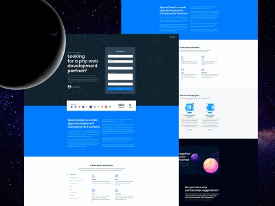 SpaceCode Website on CMS Maia creative agency design agency development agency design agency website development web development web agency dark blue planet space web design website design laravel