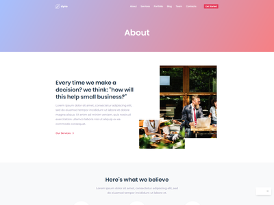 Saas About Us Page for Dyno Template web design agency development agency design agency web design web html 5 dyno multipurpose template design saas design saas landing page saas