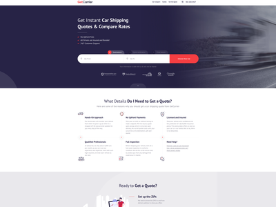 GetCarrier Car Shipping Landing Page creative web design agency creative agency web design agency development agency design agency web design shipping company transportation car