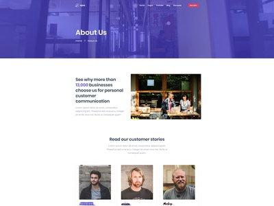 Corporate About Us Page for Dyno Html Template
