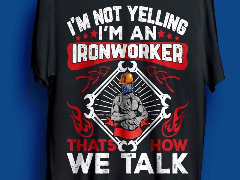 ironworker t-shirt design complex man ironworker