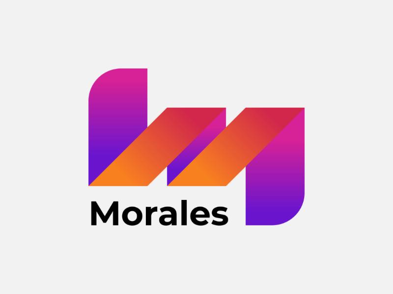 Morales gradient letter branding flat logo
