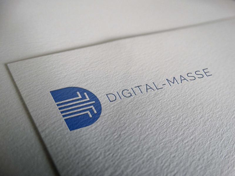 digital masse monogram technology blue company digital branding logo