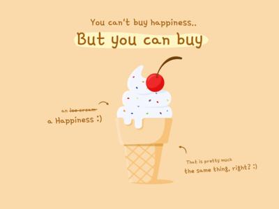 Happiness Ice Cream icecream happy happiness ice cream ice weekly warm-up branding flat design flat illustration flatdesign design creative  design illustration flat vector