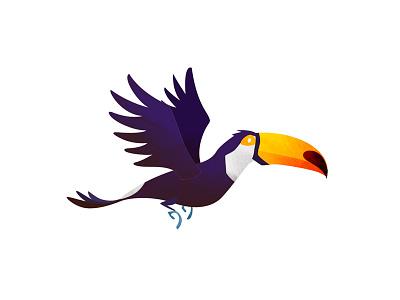 Wild Adventure - Toucan illustration animals toucan flying texture wild children kids