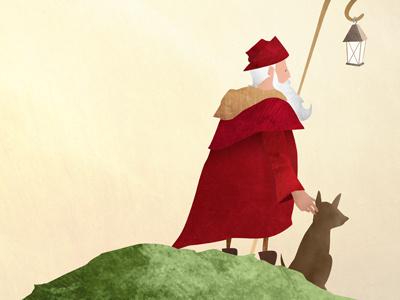 The Watcher illustration hill animal texture old man kids children cute