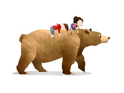 Wild Adventure Bear illustration animals bear texture wild children kids mark bird