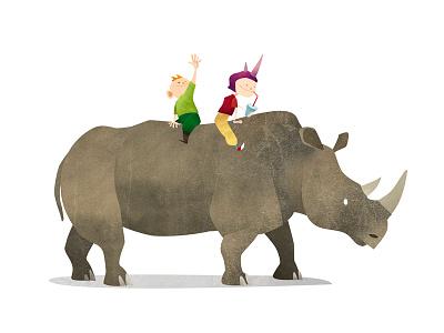 Wild Adventure Rhino illustration animals rhino rhinoceros texture wild children kids mark bird