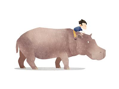 Wild Adventure Hippo illustration animals hippo hippopotamus texture wild children kids mark bird