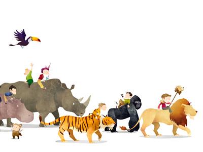 Wild Adventure illustration animals toucan tiger gorilla lion hippo texture wild children kids bird