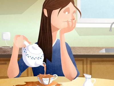 Absen-Tea illustration editorial tea texture woman kitchen absent