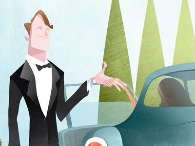 The Gentleman illustration editorial car texture woman manor suit db5