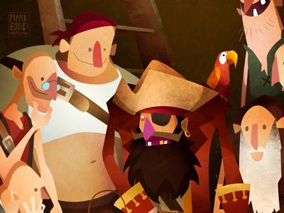 Secret Treasure illustration storybook pirate texture treasure children kids ship mark bird