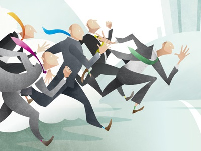 Business Race editorial business character corporate suit race