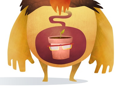 Monster Diets No.2 whimsy humour kids print fun glasses plant diets monster illustration