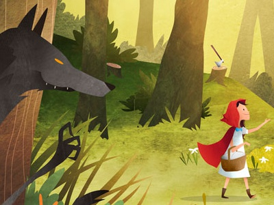 Red Riding Hood grimm huntsman illustration forest cap red wolf tales fairy