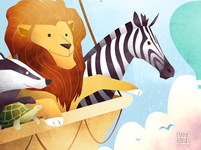 The Great Animal Balloon Race crocodile bear elephant giraffe tortoise badger story childrens illustration lion zebra animals