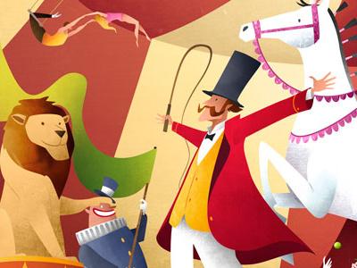 The Circus strongman monkey trapeze elephant juggler print childrens illustration clown lion horse ringmaster