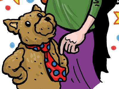 Promo piece Vera website illustration vera childrens book portrait teddy bear magic